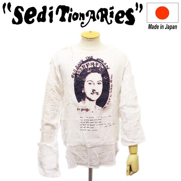 正規取扱店 SEDITIONARIES by 666 (セディショナリーズ) MUSLIN TOP ムスリントップ ガーゼシャツ SAFETY PIN QUEEN ホワイト STM0006
