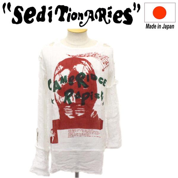 正規取扱店 SEDITIONARIES by 666 (セディショナリーズ) MUSLIN TOP ムスリントップ ガーゼシャツ CAMBRIDGE RAPIST ホワイト STM117