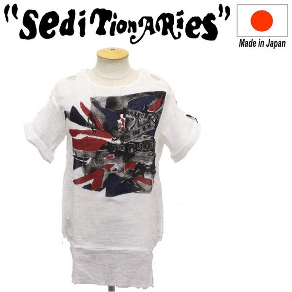正規取扱店 SEDITIONARIES by 666 (セディショナリーズ) MUSLIN TOP S/S ムスリントップ 半袖 ガーゼシャツ ANARCHY FLAG ホワイト STM0011