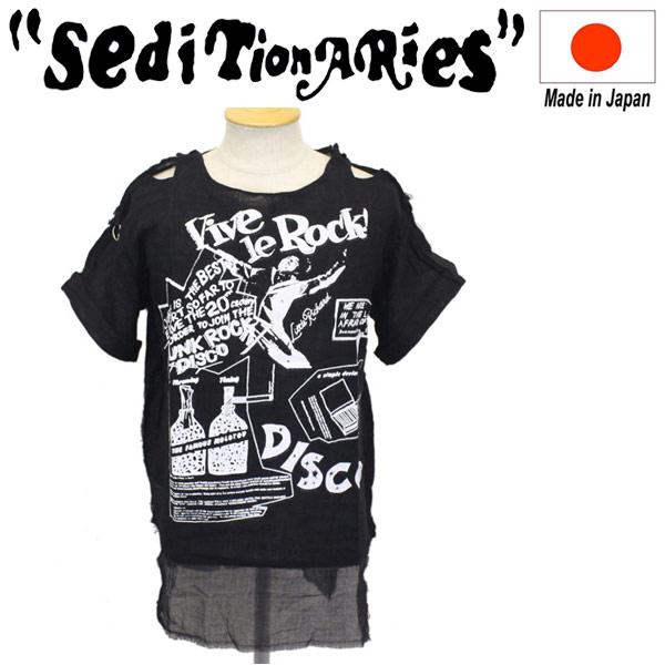 正規取扱店 SEDITIONARIES by 666 (セディショナリーズ) MUSLIN TOP S/S ムスリントップ 半袖 ガーゼシャツ VIVE LE ROCK ブラック STM0013
