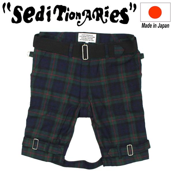 正規取扱店 SEDITIONARIES by 666 (セディショナリーズ) Bondage Shorts ボンデッジショーツ グリーン/レッドタータン STP0007