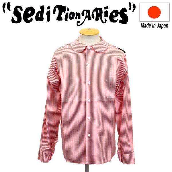 正規取扱店 SEDITIONARIES by 666 (セディショナリーズ) Peter Pan shirt L/S ピーターパンシャツ 長袖 レッド/ホワイトストライプ STS0017