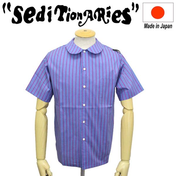 正規取扱店 SEDITIONARIES by 666 (セディショナリーズ) Peter Pan Shirt ピーターパンシャツS/S 半袖 ライトブルー/ピンクストライプ STS0018