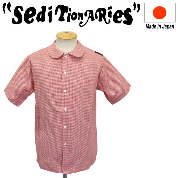 正規取扱店 SEDITIONARIES by 666 (セディショナリーズ) Peter Pan Shirt S/S ピーターパンシャツ 半袖 千鳥格子レッド STS0002
