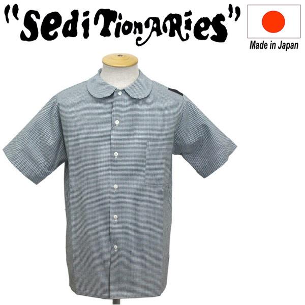 正規取扱店 SEDITIONARIES by 666 (セディショナリーズ) Peter Pan Shirt S/S ピーターパンシャツ 半袖 千鳥格子グリーン STS0002