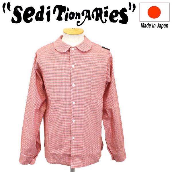 正規取扱店 SEDITIONARIES by 666 (セディショナリーズ) Peter Pan shirt L/S (ピーターパンシャツ ロングスリーブ) レッド千鳥格子 STS0006