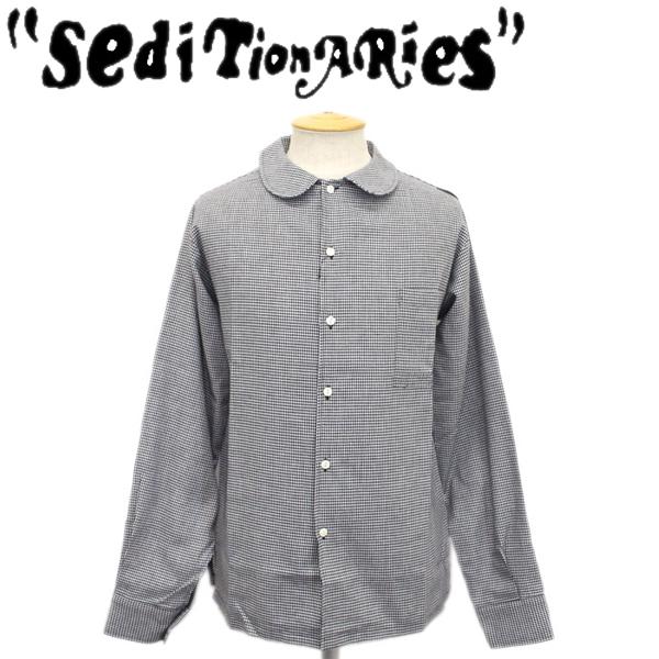 正規取扱店 SEDITIONARIES by 666 (セディショナリーズ) Peter Pan shirt L/S (ピーターパンシャツ ロングスリーブ) ブラック千鳥格子 STS0006