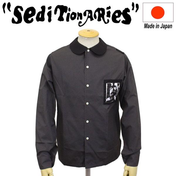 正規取扱店 SEDITIONARIES by 666 (セディショナリーズ) Patched Peter Pan shirt L/S パッチドピーターパンシャツ 長袖 グレー/ブラック STS0015