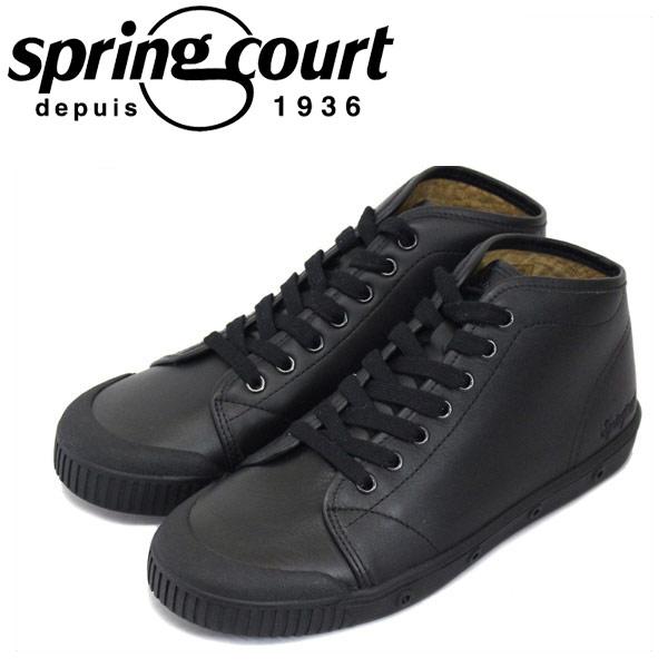 正規取扱店 spring court (スプリングコート) B2S-V5 B2 Leather (B2レザー) レディース ハイカットスニーカー BLACK (ブラック) SPC021