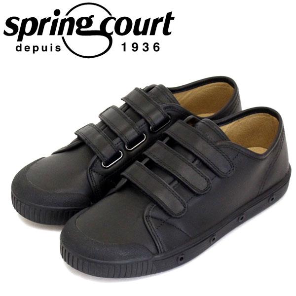 正規取扱店 spring court (スプリングコート) G2SV-5 G2 Velcro Leather ベルクロ レザー レディース ローカットスニーカー BLACK SPC031