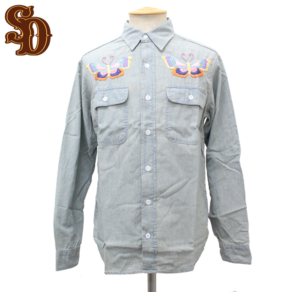 正規取扱店 STANDARD CALIFORNIA(スタンダードカリフォルニア) SD Chambray Shirts Butterfly(シャンブレーシャツ)