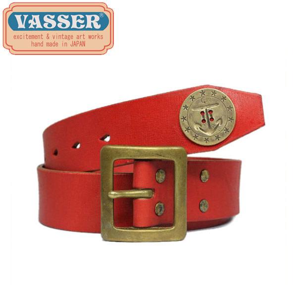 スーパーセール 正規取扱店 VASSER(バッサー)Anchor Concho Tip Belt Vintage Red(アンカーコンチョティップベルト ビンテージレッド)