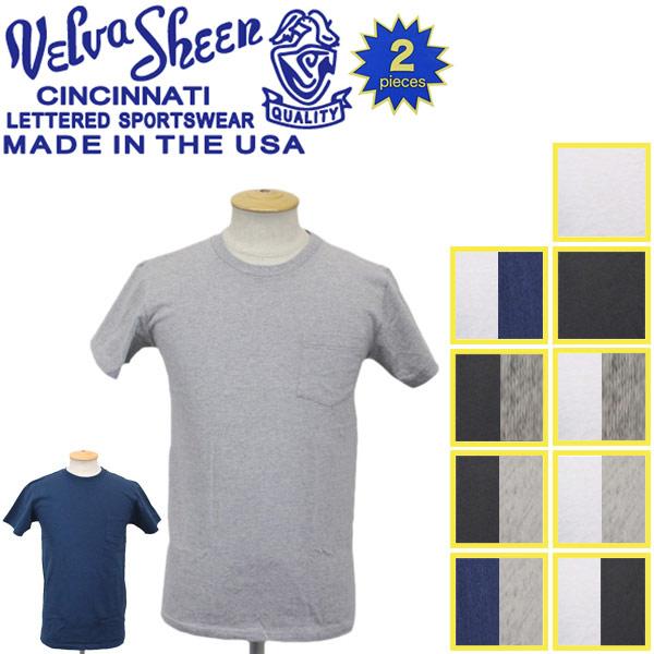 正規取扱店 Velva Sheen (ベルバシーン) 160920 2PAC C/N PK TEE (半袖 丸首 ) クルーネックTシャツ ポケット有り 2枚組 全10パターン VLVS002