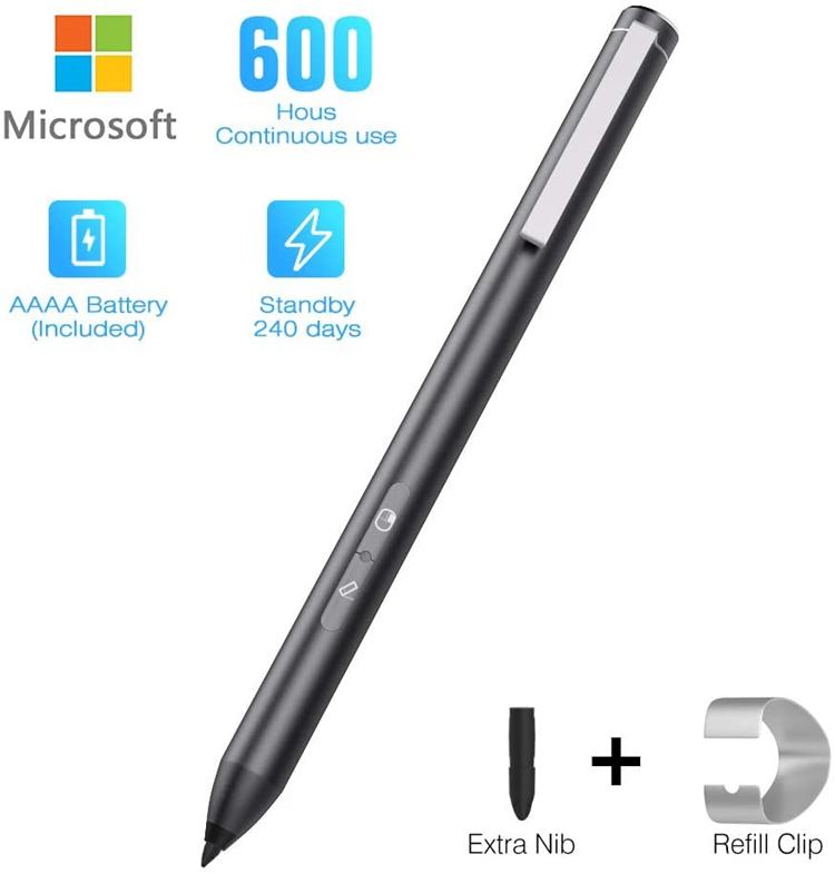 4096レベル 超高感度 長持ち Surface スタイラスペン 極細 タッチペン アルミニウム製 ペアリング不要 充電不要 電源オンオフ不要 電池内蔵 操作簡単 耐久性 ペン Microsoft Laptop Pro 替え芯付き 耐久 2 HLK アルミ製 FCC CE 描きやすい 7 激安セール 5 Rohs OUTLET SALE go 3 サーフェス 6 4