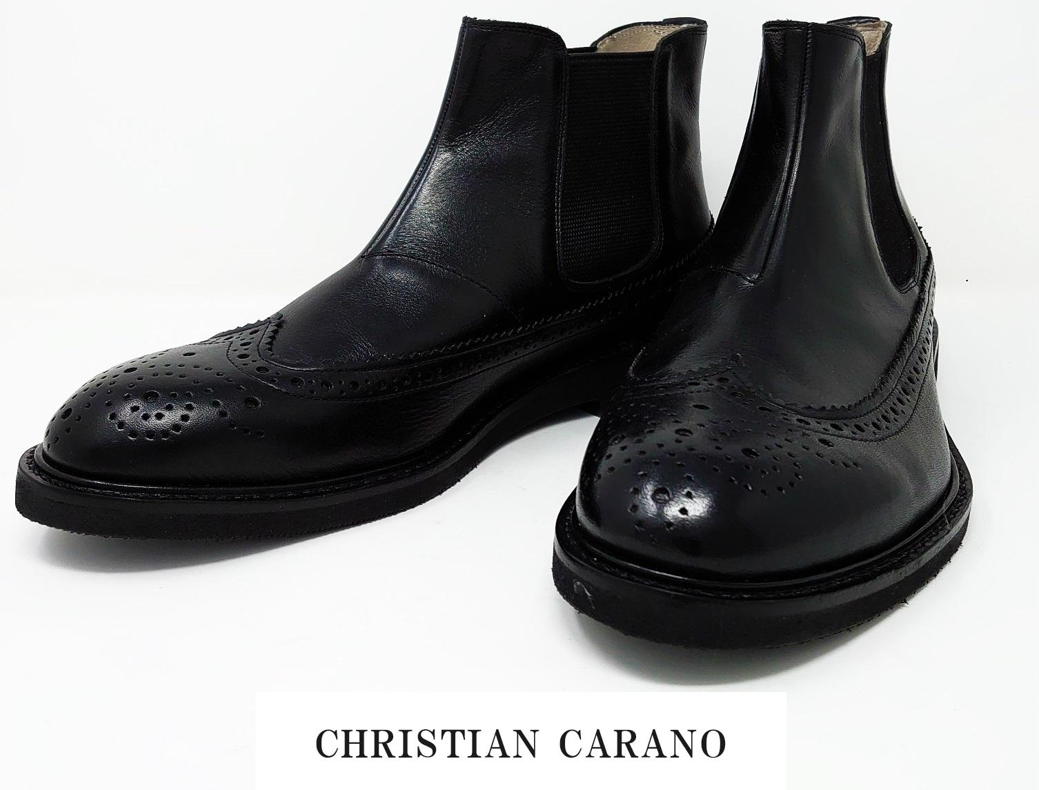1点物 日本製 本革 サイドゴアブーツ メンズ ドレス ビジネスシューズ ウイングチップ パーフォレーション 3E 撥水加工 Christian Carano - クリスチャンカラノ