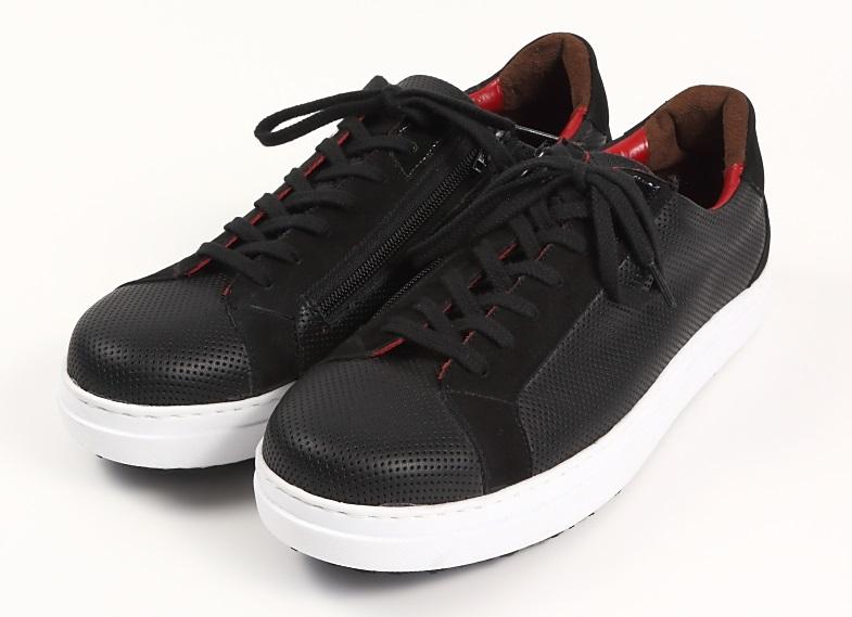 1点物 本革 日本製 レザースニーカー パンチング メンズ ブラック パンチメッシュ 黒 3E カジュアル 紳士靴 大人 おしゃれ 高級 スニーカー ファスナー ビブラム マッケイ ショック吸収ソール 撥水ARAGIN - アラジン 高級