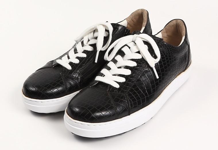3色 数量限定 本革 日本製 レザースニーカー メンズ クロコ 型押し 黒 3E カジュアル 紳士靴 大人 おしゃれ 高級 スニーカー ファスナー ビブラム マッケイ ショック吸収ソール 撥水ARAGIN - アラジン 高級