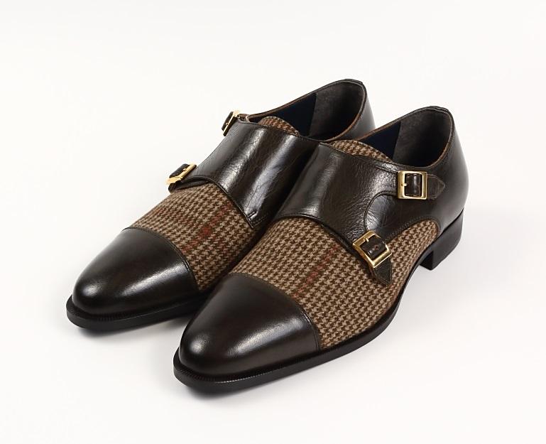 1点物 日本製 本革 メンズシューズ 3E ダブルモンクストラップ 撥水 紳士靴 チェックツイード柄生地 Christian Carano - クリスチャンカラノ 高級