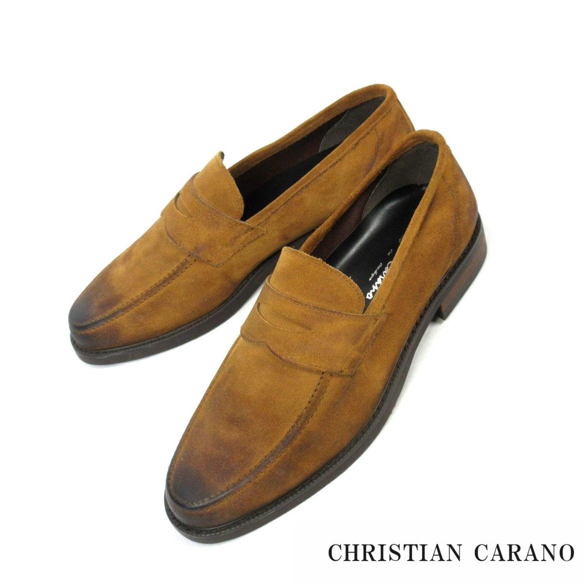 1点物 日本製 本牛革スエード ドレスシューズ メンズ 靴 ショック吸収 おしゃれ 高級 ペニーローファー 3Eクリスチャンカラノ Christian Carano 高級