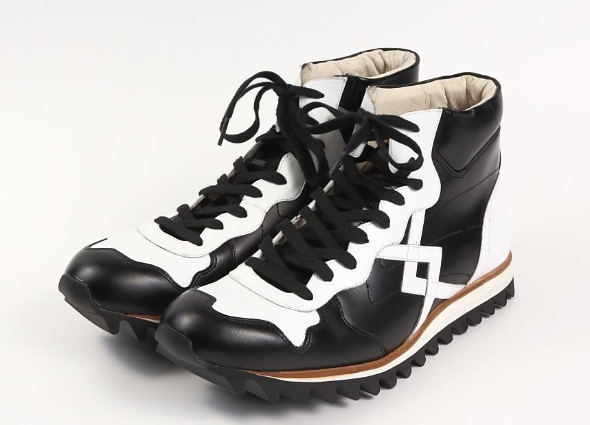1点物 日本製 浅草の靴 本革 レザースニーカー メンズ ブラック ホワイト モノトーン 26cm 3E カジュアル ビブラム おしゃれ 撥水 スニーカー CHRISTIAN CARANO クリスチャンカラノ SA-5 高級