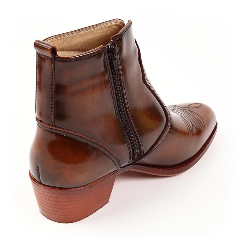 日本製 ブーツ ショート 撥水加工 幅広 ウエスタンブーツ テキサスヴィレッジ ワイド 本革 【当店限定の幅広ウエスタン】 レザー Texas Village 55215 レディース 5E 6E ポインテッドトゥ ステッチデザイン メンズ ファスナー