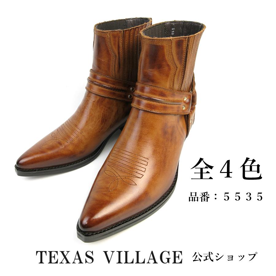 日本製 本革 ウエスタンブーツ ショート ブーツ リングブーツ メンズ レディース ステッチデザイン カウボーイブーツ 23.5~31.0cm 3E 撥水加工 Texas Village テキサスヴィレッジ 5535 ブランド ブーツ ウエスタン