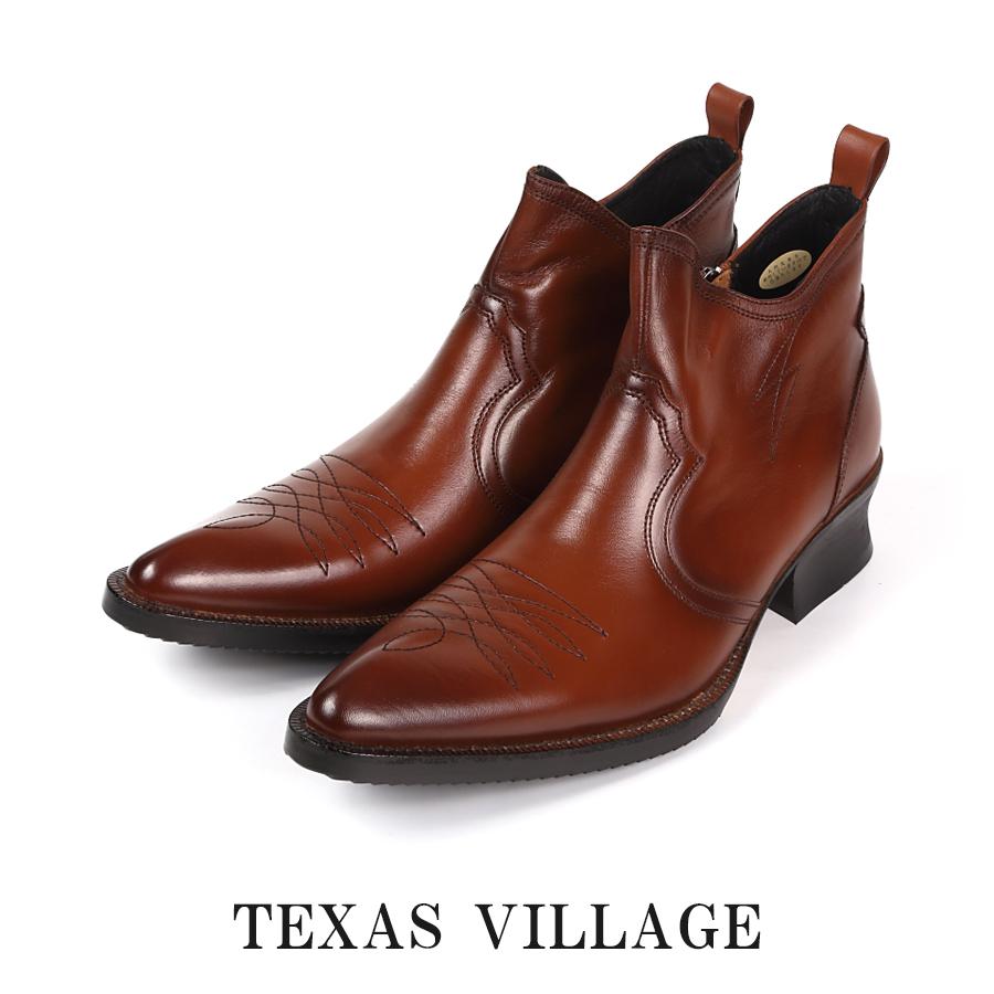 日本製 国産 本革レザー ウエスタンブーツ ショート ブーツ メンズ ステッチデザイン カウボーイ・ポインテッドトゥ 3E 撥水加工 ファスナー開閉 Texas Village テキサスヴィレッジ 14 sale