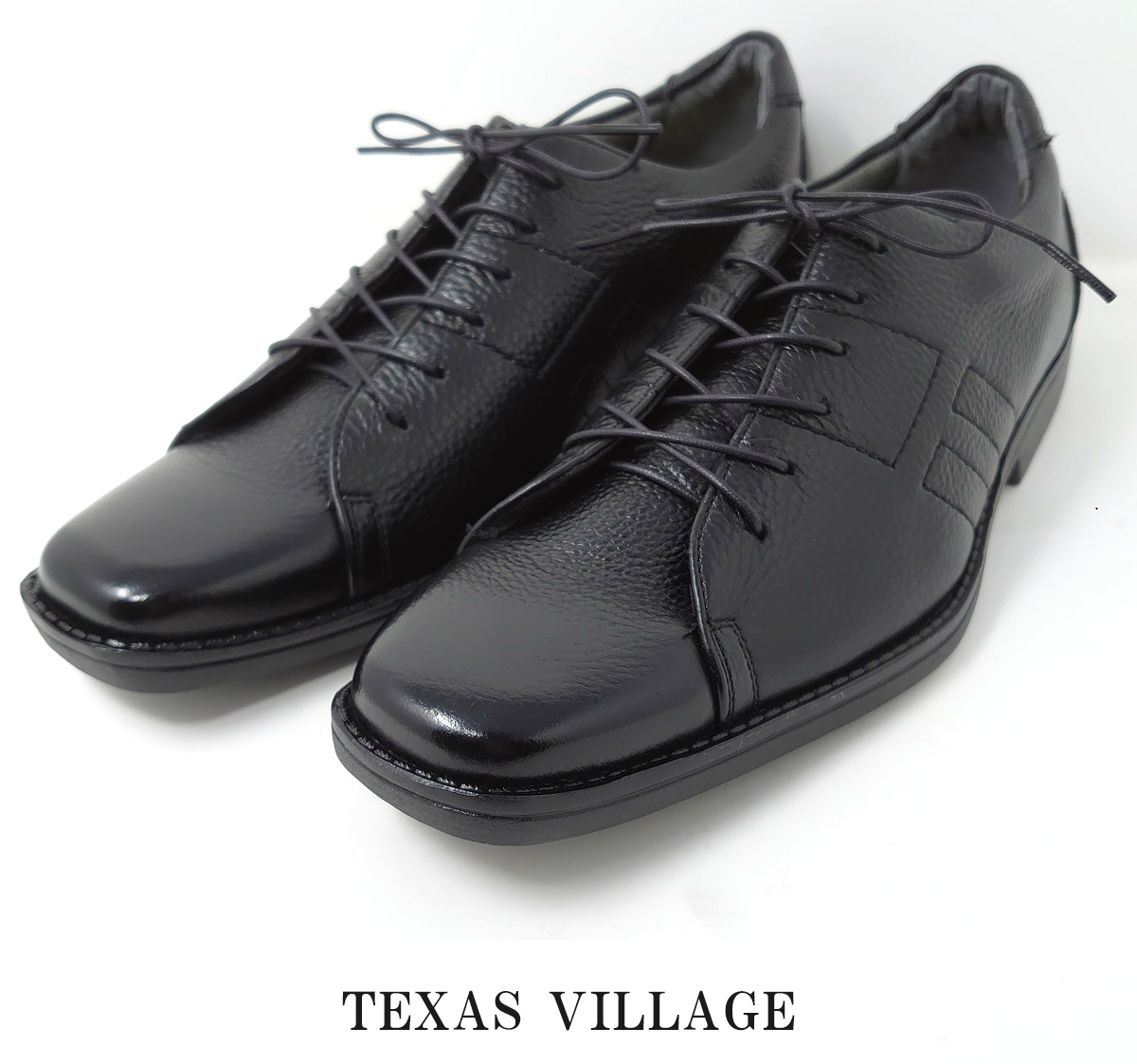 日本製 牛シボ革 メンズスニーカー コンフォートシューズ 外羽根 3E 撥水 Texas Village テキサスヴィレッジ TK-921 ブラック ホワイト カジュアル靴 スクエアトゥ