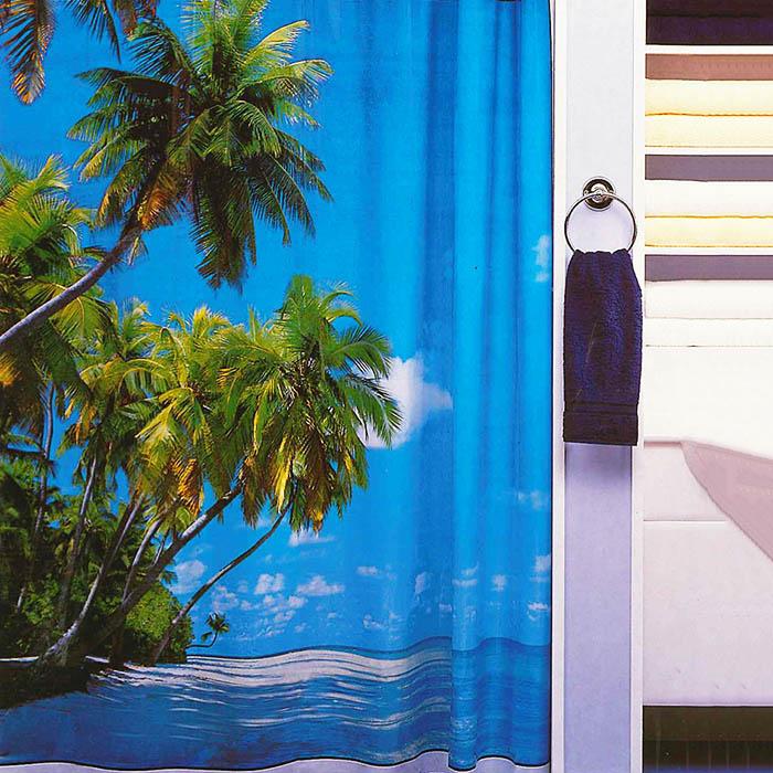 リゾート気分を味わえるおしゃれなシャワーカーテンです お部屋の間仕切りとしても 在庫限り シャワーカーテン パラダイス 間仕切り カーテン おすすめ特集 ビニール 選択 防水 お風呂カーテン 防水カーテン おしゃれ かわいい 可愛い 青 南の島 お風呂 ビーチ ユニットバス 写真 paradise 南国 フリーカット 海 ブルー 目隠し バスルーム ヤシの木 シャワー