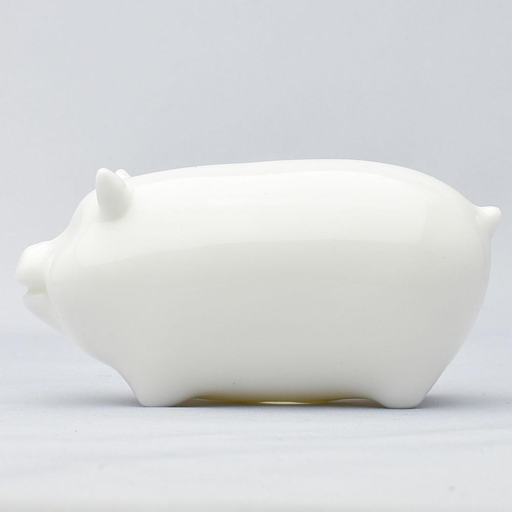 白磁の光沢がきれいな豚の茶寵 贈り物 上品 ちょっと大きめサイズ 大猪茶寵