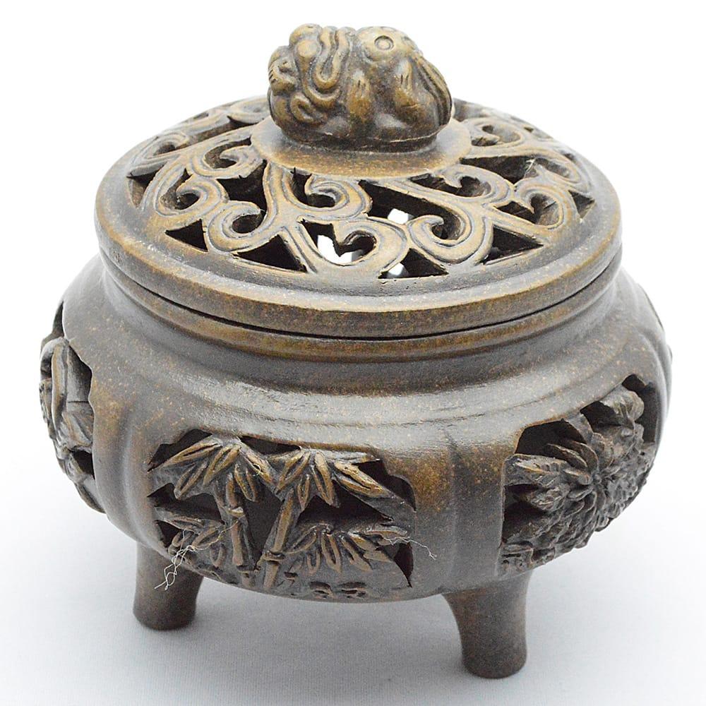 古銅泥の香炉 様々な植物の図案とフタの上には球を抱いた獅子 雕花香炉 アウトレット メイルオーダー