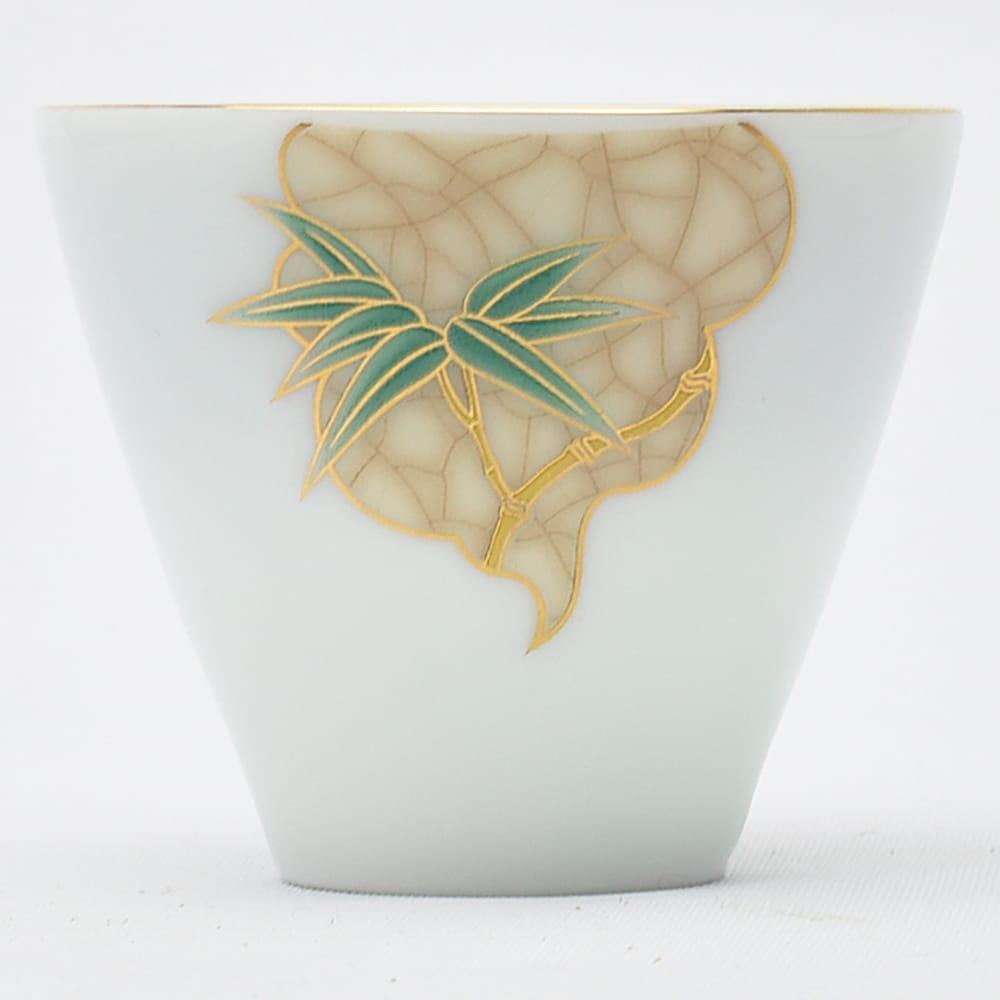 数量限定 ごく薄い青みを帯びた竹の絵柄の描金茶杯です 描金斗笠杯 中国彩磁茶杯 金竹 大決算セール