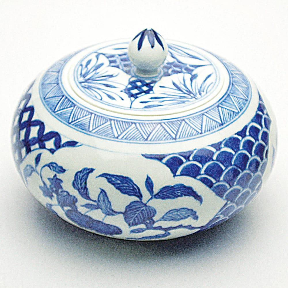 景徳鎮青花磁 三果紋茶葉罐 径123×高90mm