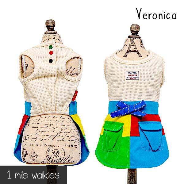 着るだけで元気になれちゃいそうなワンピース ワンマイルウォーキーズ 1 評価 mile walkies ベロニカ Veronica Stitching One ワンピース Piece 数量限定アウトレット最安価格 ドレス ウエア 犬服 小型犬 送料無料 カジュアル