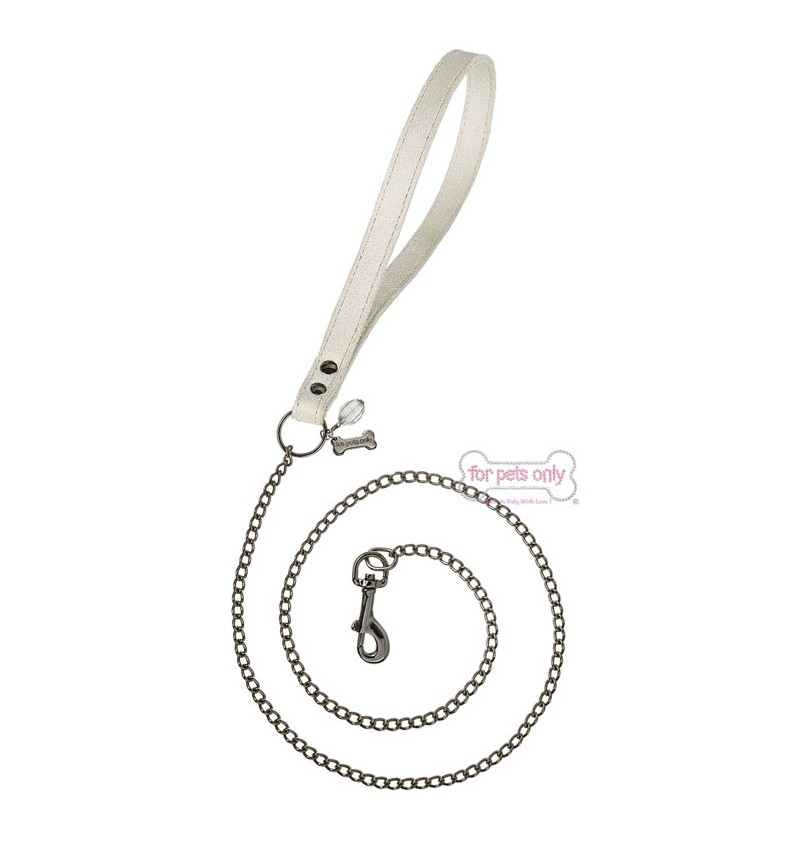 For Pets Only (フォーペッツオンリー) CHAIN LEAD BEIGE ECOLEATHER (PE2019-GF14)【小型犬 ラグジュアリー セレブ リード /送料無料】