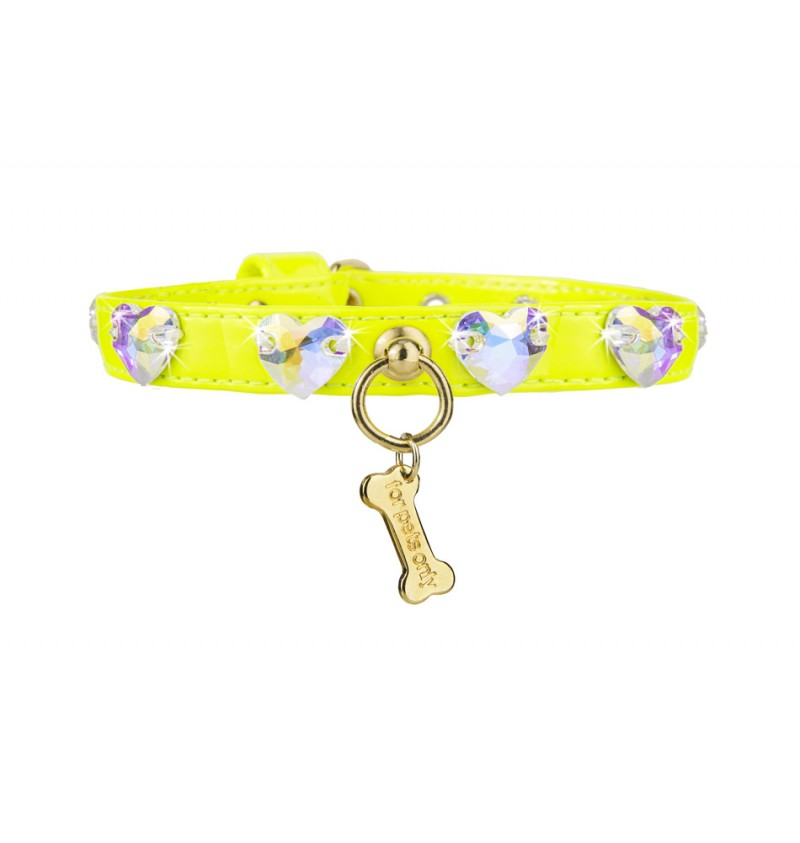 Love is Love Fall Winter Collection 2020-2021 フォーペッツオンリー for pets only LOVE ME COLLAR ECOLEATHER YELLOW (AI2020-CO2)【小型犬 犬用 カラー 首輪 セレブ】
