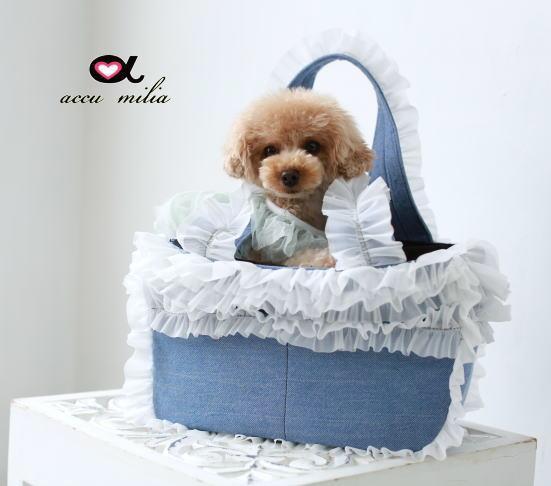 accu milia(アキュミリア) Newエレガント デニムパフキャリー(ホワイトフリル) M【小型犬 犬用 ペット キャリーバッグ セレブ/ 送料無料】