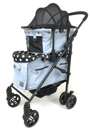 超目玉 ついに ラプレLサイズ に上段が登場 マザーカート Mother Cart ラプレ Lサイズ デニム上下段 開店記念セール 犬用品 小型犬 ペットバギー キャリーバッグ 送料無料 ペットカート キャリーカート