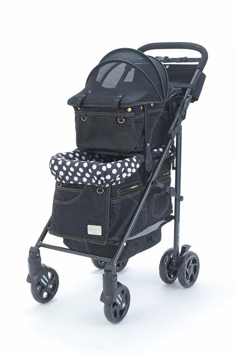 マザーカート Mother Cart ラプレ ブラックデニム(前面メッシュ新型) 上下段セット【小型犬 キャリーバッグ キャリーカート ペットカート ペットバギー 犬用品】