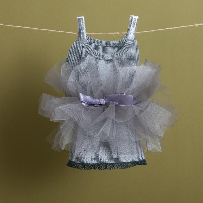 ルイスドッグ louisdog TUTU T-shirts(チャコールストライプ)【小型犬 犬服 ウエア ワンピース ドレス セレブ】