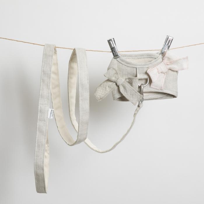 ルイスドッグ louisdog Irish Linen Harness Set(ナチュラルリネン)【小型犬 犬用 セレブ リード ハーネス 胴輪】