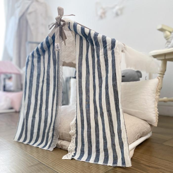 ルイスドッグ louisdog Peekaboo Couture/Linen Stripes(Petit)【小型犬 ベッド ソファ カドラー ハウス セレブ】