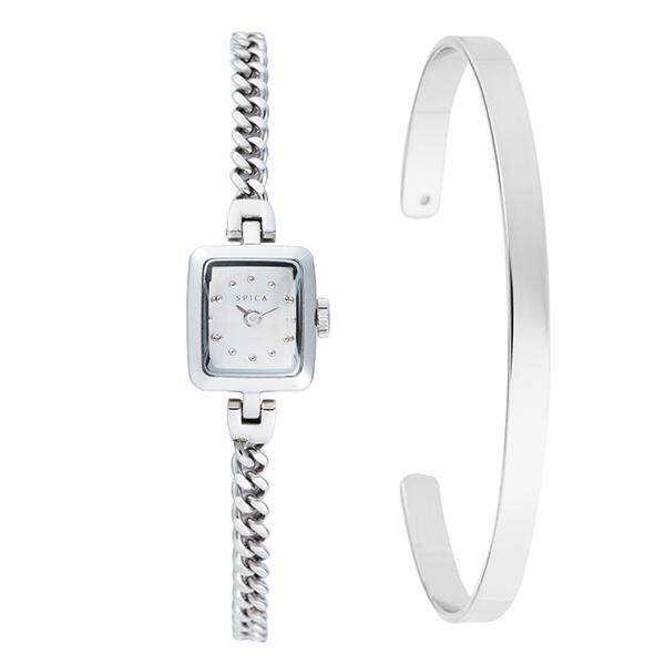 TiCTACオリジナル SPICA スピカ 腕時計 レディス チェーンブレス バングル付属 SPI56-SV/SET