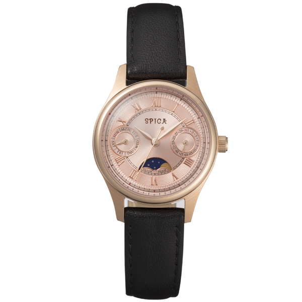 SPICA スピカ ROUND MOON PHASE ムーンフェイズペアモデル 100本限定 腕時計 レディース SPI46-PG-BLK 【送料無料】