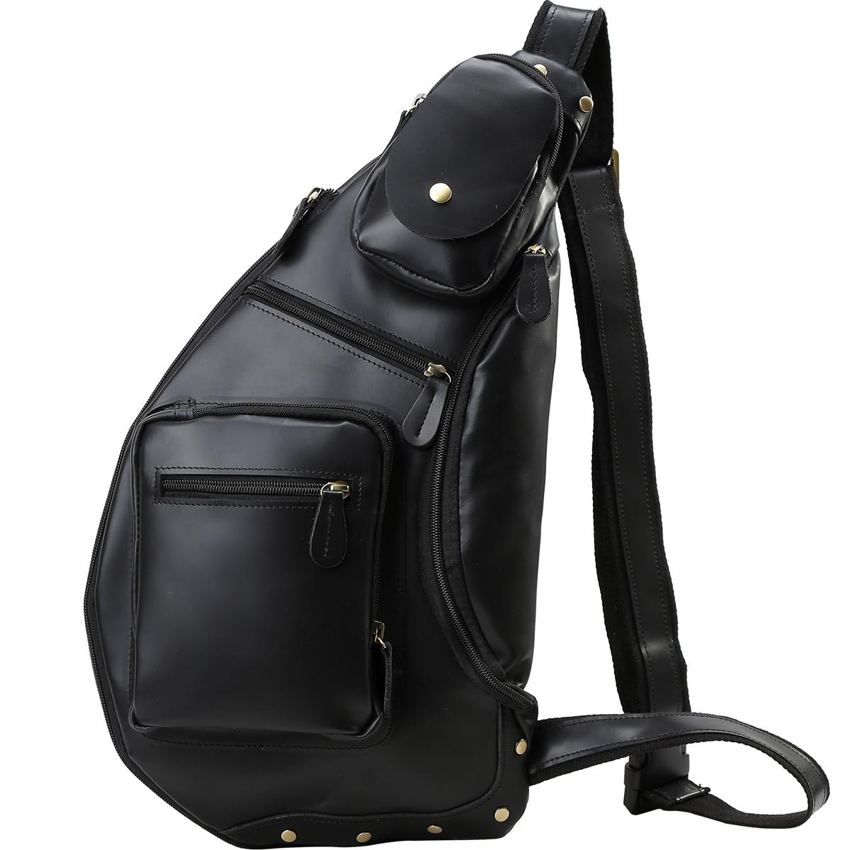 TIDING 潮牛 光沢感 本革 メンズ ボディバッグ ワンショルダーバッグ iPad 大容量 斜め掛けバッグ ボディーバッグ 革 レザー 牛革 自転車 タウン カジュアル バッグ 鞄 黒 ブラック D-MF MNFA_DL SBFA_DL