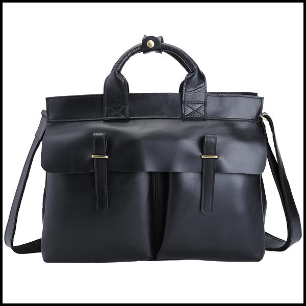 TIDING 潮牛 ビジネスバッグ メンズ ブリーフケース 本革 牛革 A4 14PC 黒系 2WAY 手提げバッグ ショルダーバッグ 通勤 書類鞄