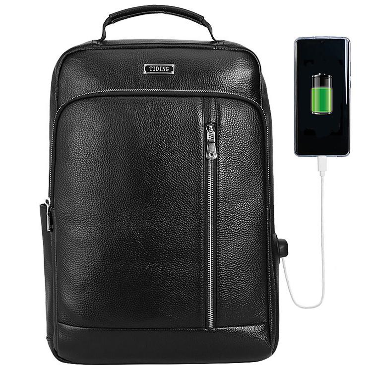 【お買い物マラソンP20倍】TIDING USBポート 充電可 メンズ 本革 牛革 リュックサック バックバッグ ディパック 大容量 15.6インチPC A4 1泊 旅行 通勤 シュリンクレザー 鞄 プレゼント ブラック