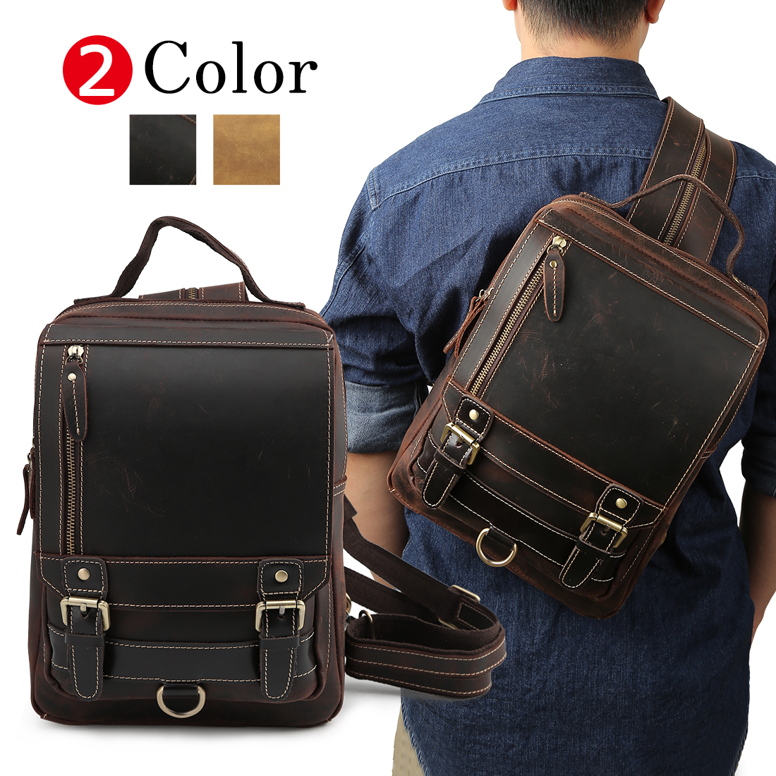 TIDING 3WAY genuine leather body bag men rucksack A4-adaptive thick cowhide  oil leather vintage one shoulder bag day pack backpack bicycle outdoor bag  dark ... 5db41a7c415c6
