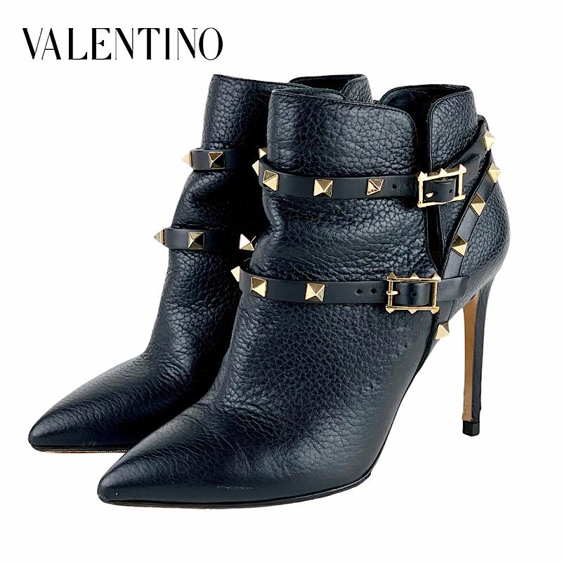 VALENTINO ヴァレンティノ ロックスタッズ ショートブーツ 黒