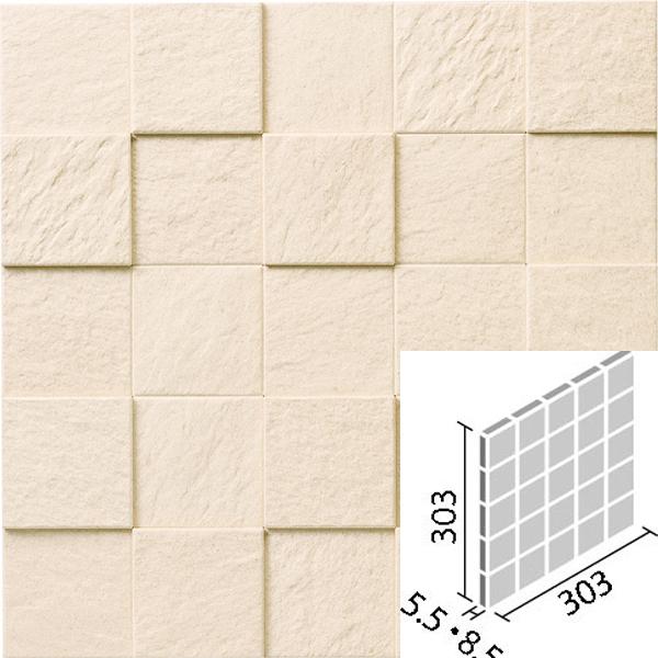 凹凸が特長のすっきりとした石面のデザイン 厚み差による陰影で印象的な空間に仕上がります タイル エコカラットプラス ペトラスクエア 特価 ECP-60NET PTS2N 市販 LIXIL 60角ネット張り INAX